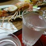 日本酒と焼きボタンエビ